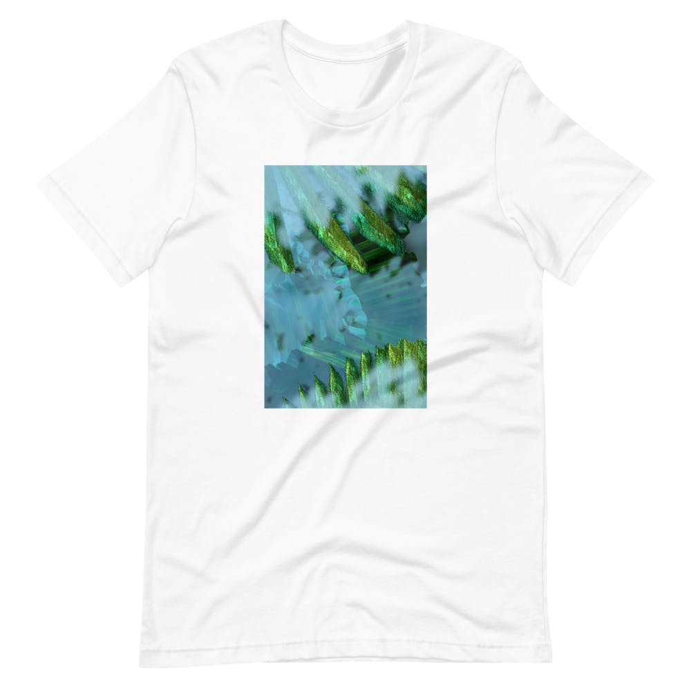 A green t-shirt with a picture of plants on the front torso.