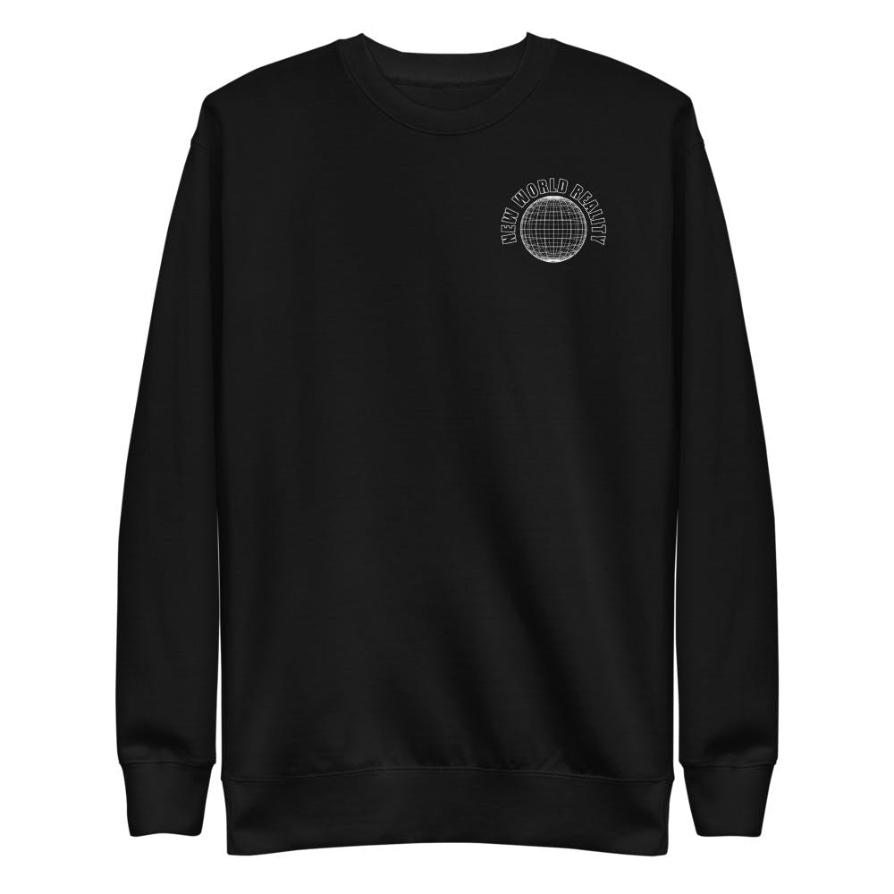 A black pullover sweatshirt with a white wireframe globe printed on the left chest.