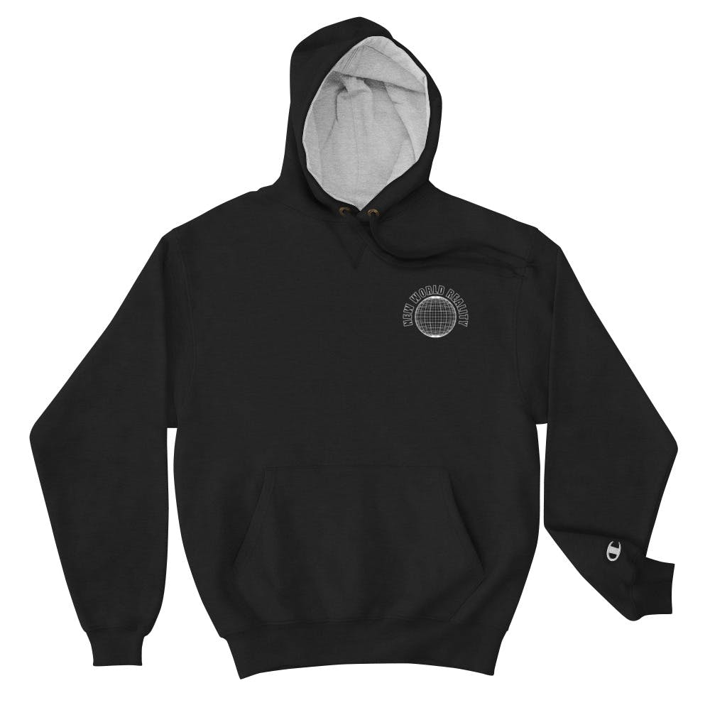A black hoodie with New World Reality Globe design embroidered on the left chest.