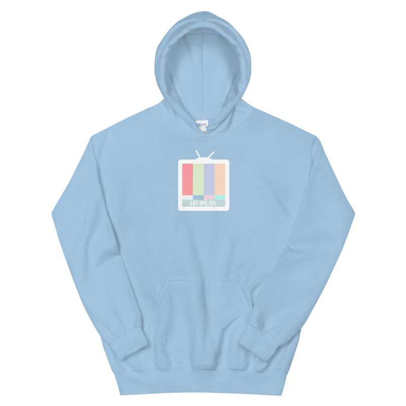 A pastel-colored hoodie with a TV on the chest.