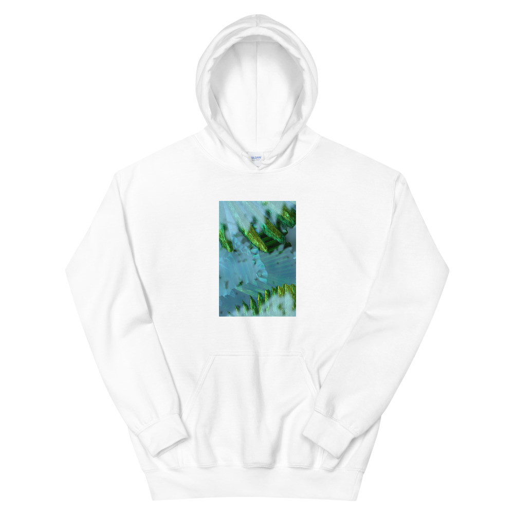 A hoodie with a picture of plants on the front torso.