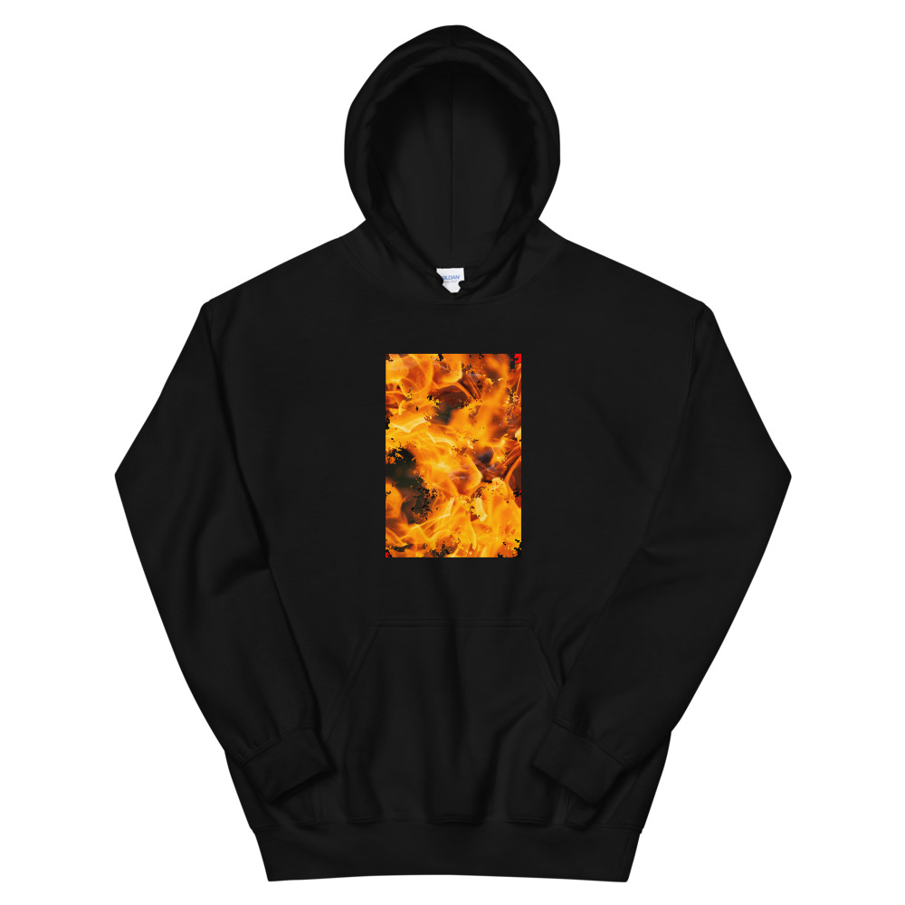 A black hoodie with a picture of a flame on the front torso.