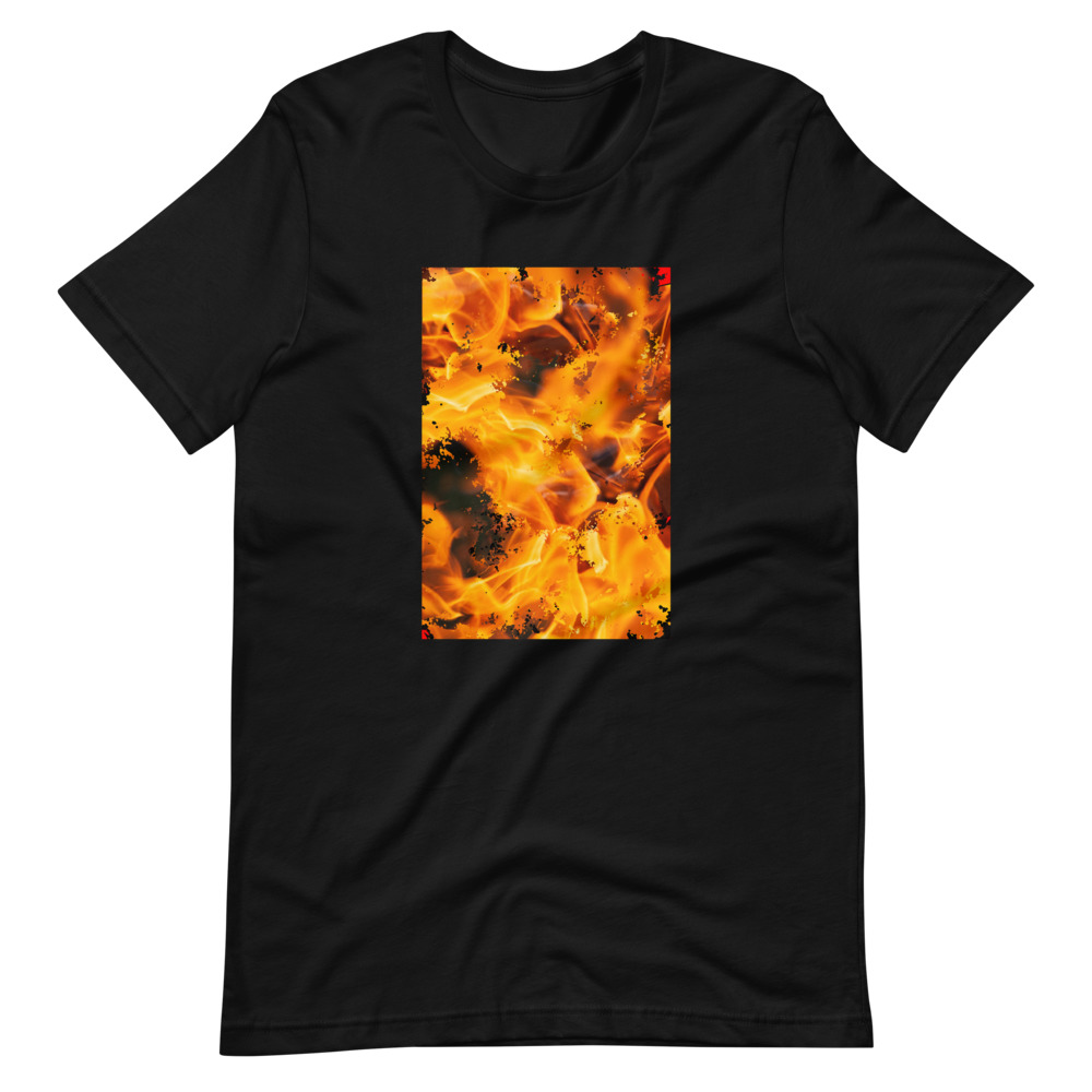 A black t-shirt with a distorted image of a flame on the front.