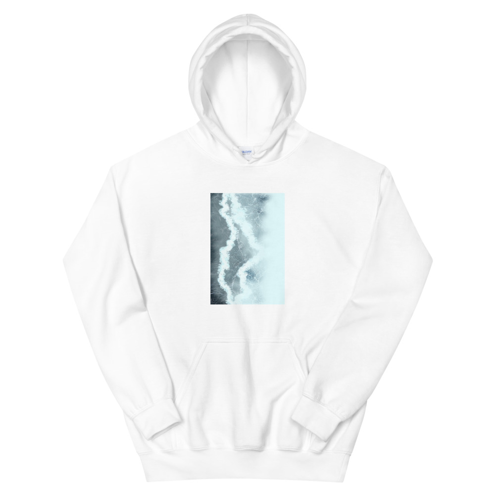 A hoodie with a picture of a body of water on the front torso.